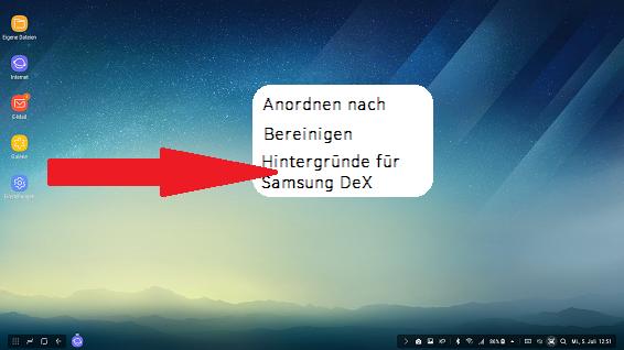 Optionen Startbildschirm Samsung DeX Station, Hintergründe