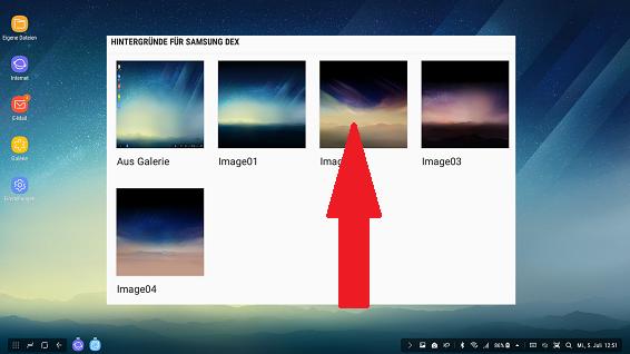 Optionen Startbildschirm Samsung DeX Station, Hintergrundbild auswählen