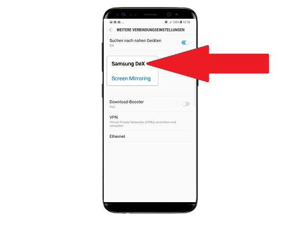Samsung DeX Station, Bildschirm spiegeln, Screen Mirroring
