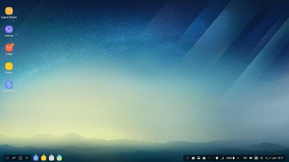 Samsung DeX Station, Bildschirm spiegeln, Desktop