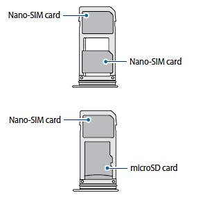 Samsung Galaxy Note8 DUOS, 2 SIM-Karten, bzw. 1 SIM-Karte und eine SD-Karte