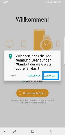 Samsung Gear Smartwatch mit Samsung Galaxy Smartphone verbinden, Geolokalisation zulassen
