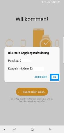 Samsung Gear Smartwatch mit Samsung Galaxy Smartphone verbinden, Bluetooth Passkey bestätigen
