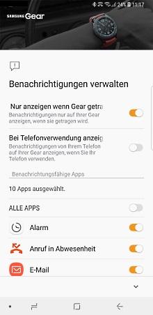Legen Sie fest, welche Benachrichtigungen auf Ihrer Samsung Gear angezeigt werden sollen.