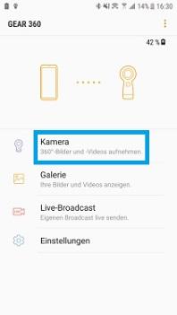 Wie nutze ich die App Samsung Gear 360, um Videos und Fotos aufzunehmen?