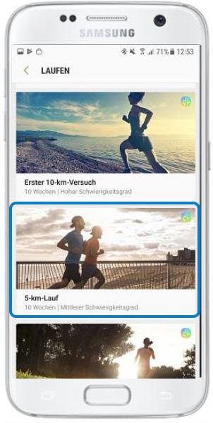 Programm 5-km-Lauf ausgewählt