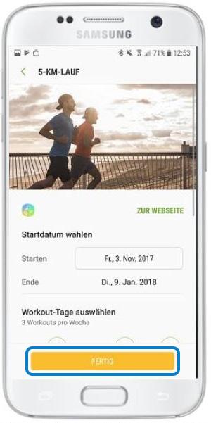 Wie starte ich mit Samsung Health ein komplexes Trainingsprogramm?
