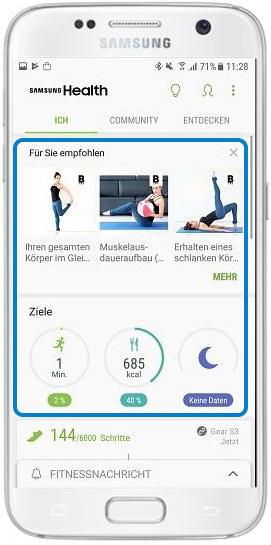 Wie lege ich mit Samsung Health Ziele fest?