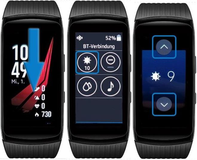 Wie kann ich bei meiner Samsung Gear Fit2 Pro die Display-Helligkeit anpassen?