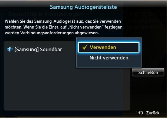 Samsung TV Soundbar, Löschung der Verbindung Soundbar -  Soundshare, Drop-down-Menü, nicht Verwenden auswählen
