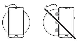 Samsung Galaxy S6 (edge/edge+), Verwendung induktives Ladegerät, Ladekabel verbinden und Smartphone mittig legen