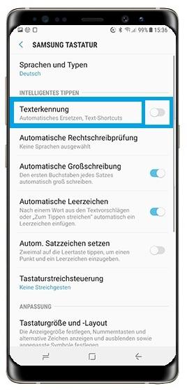 Samsung Galaxy S8 Smartphone, Texterkennung aktivieren