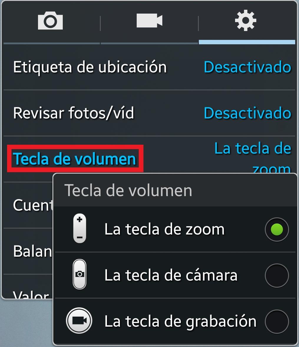 Tecla de volumen