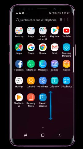 Pour retourner à l'écran d'accueil, glissez vers le haut ou vers le bas sur l'écran des applications