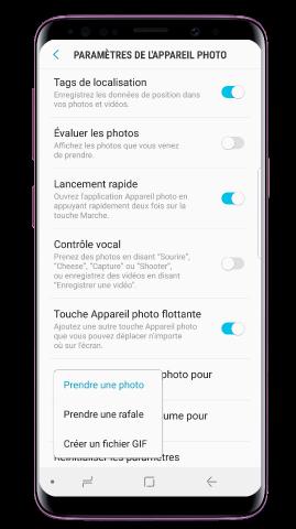 Comment créer un GIF ou prendre des photos en rafale avec mon Galaxy S9/S9+ ?