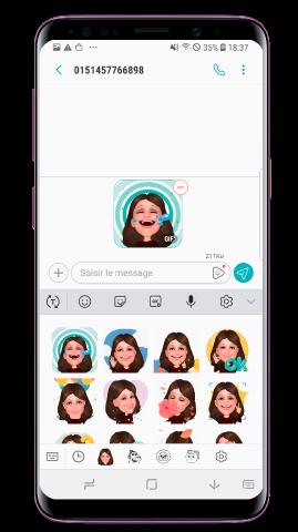 Sélectionnez un autocollant emoji de Emoji RA