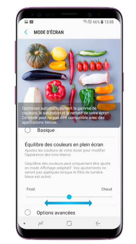 Comment régler la couleur et la luminosité de mon Galaxy S9/S9+