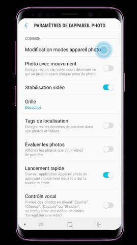 Tapez sur Modification modes appareil photo