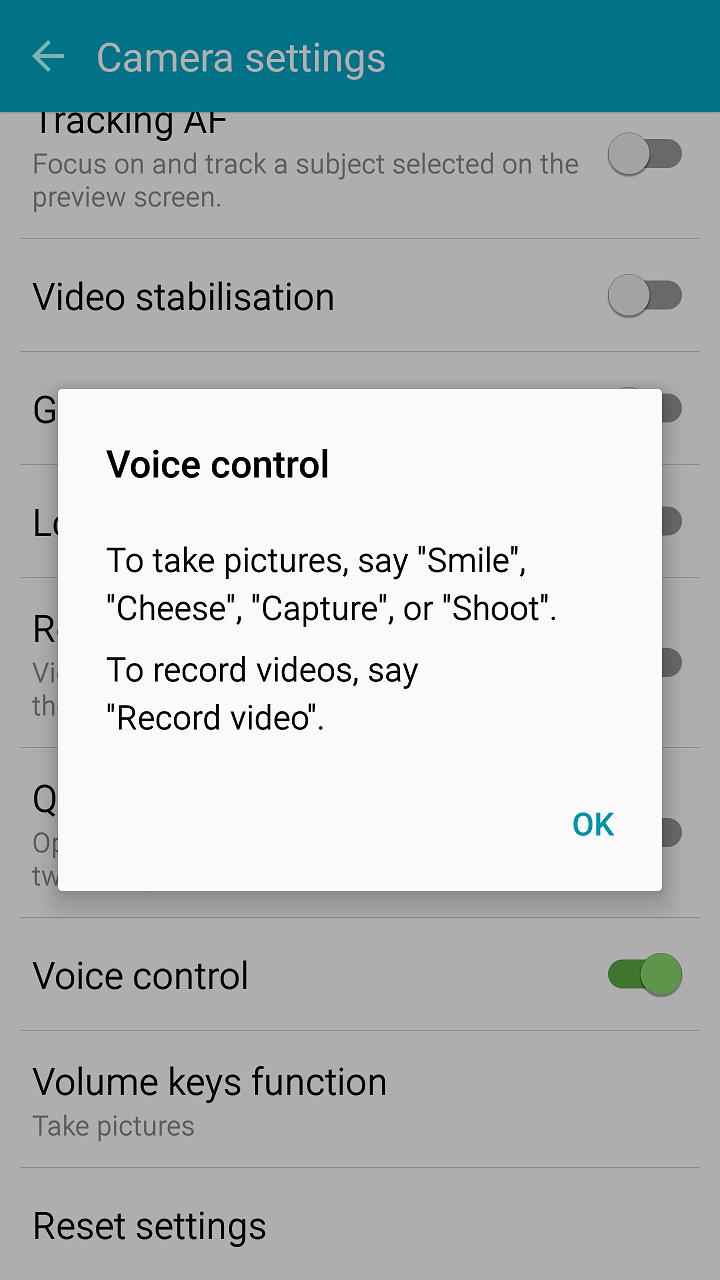 Camera setting menu