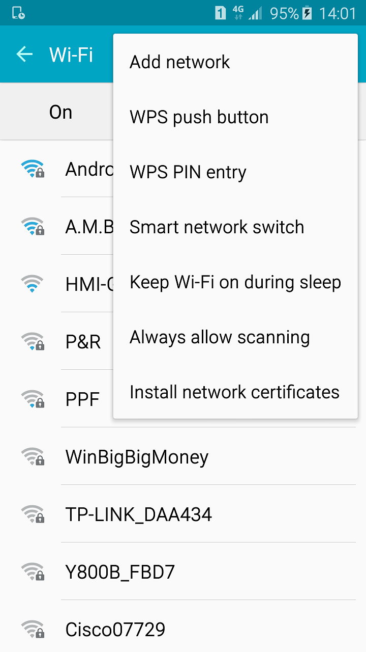 Wifi Setting Menu