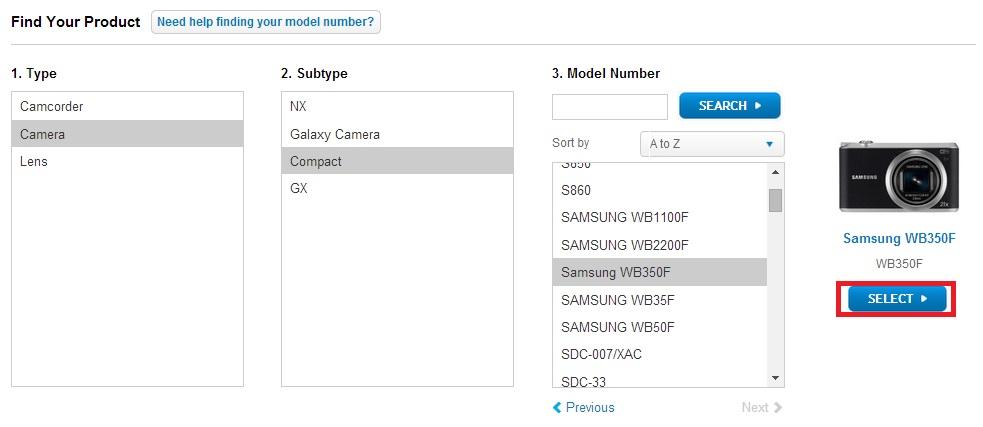 choose camera model