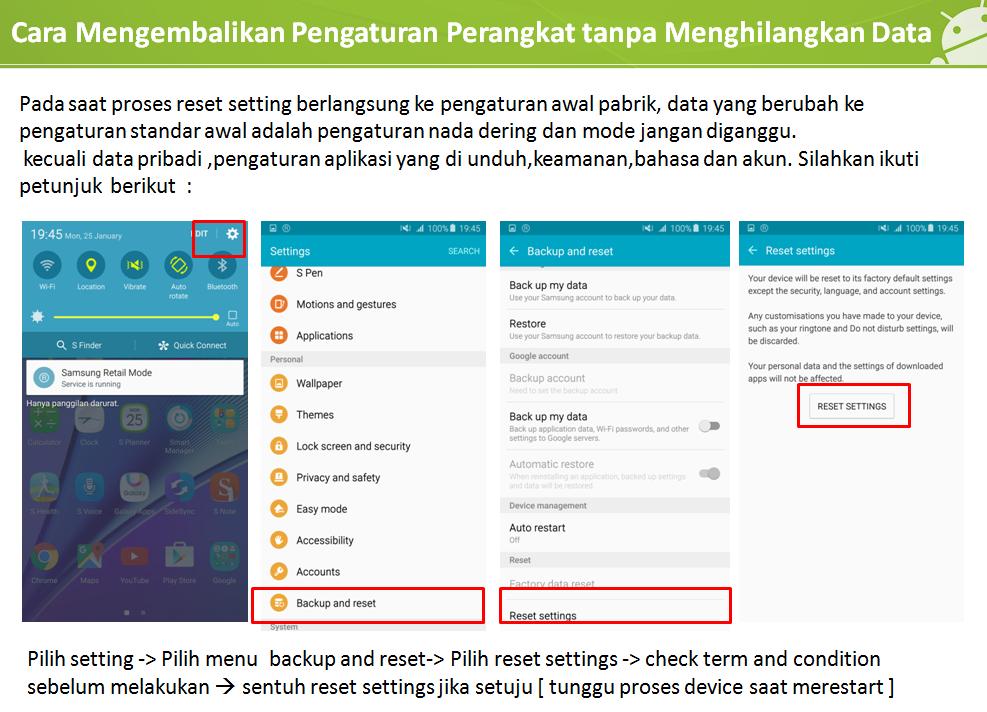 [Galaxy Note 5] Cara mengembalikan Smartphone ke pengaturan awal tanpa menghapus data