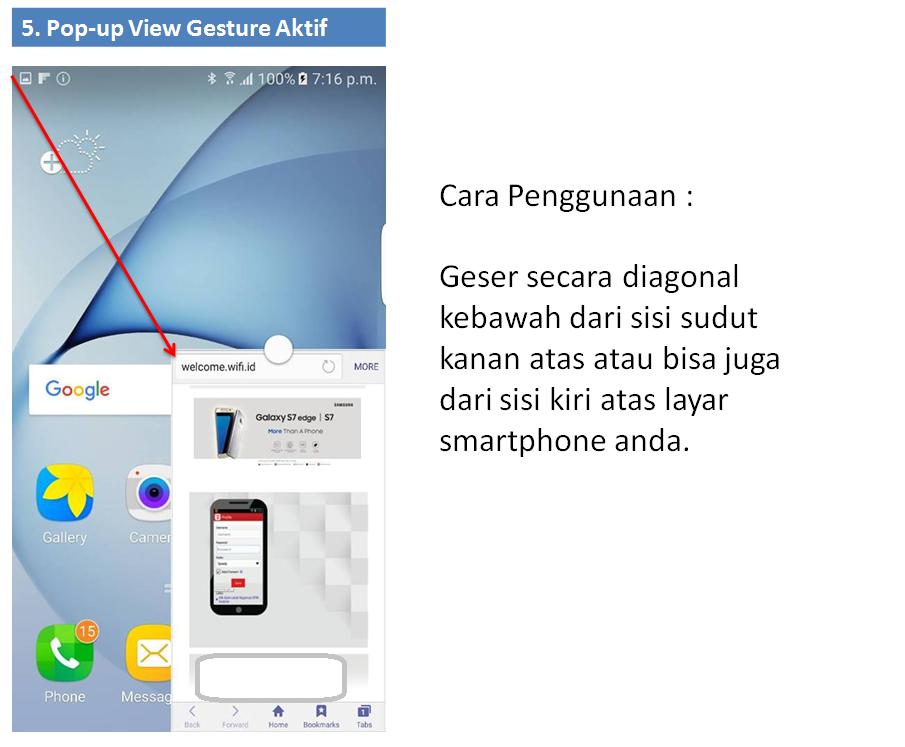Cara mengaktifkan pop up view gesture pada Galaxy s7