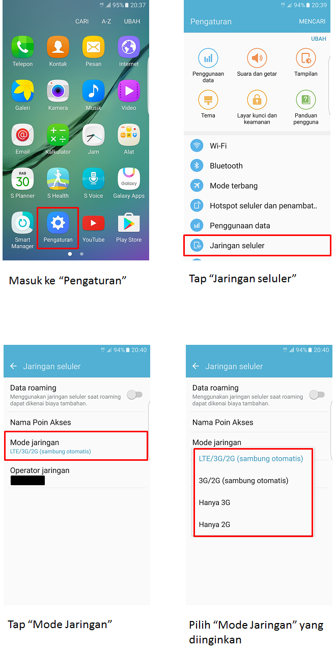 Bagaimana cara setting Galaxy S6 edge supaya hanya bisa menggunakan jaringan 4G saja?