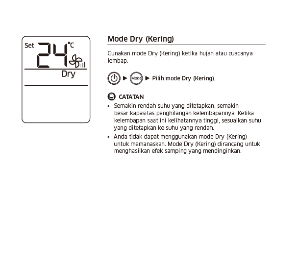 Apa fungsi Mode DRY pada remote control AC Samsung?