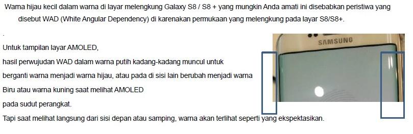 Mengapa ada muncul warna kehijauan pada tepi layar Galaxy S8/S8+?