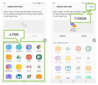 Bagaimana cara menggunakan App Pairs pada Note 8?