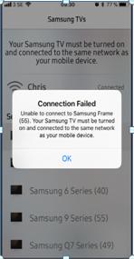 Mengapa IOS Versi 11 tidak bisa terhubung pada Smart View Frame TV?