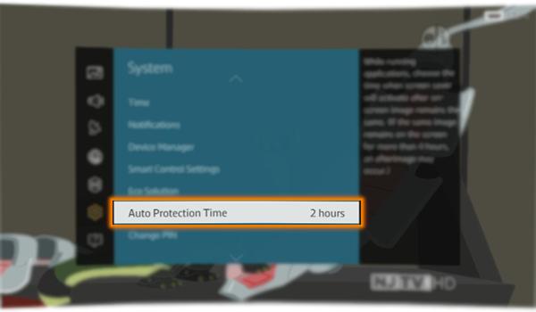 Selectati Timp protectie automata. Daca aceeasi imagine este afisata pe ecran mai mult decat timpul selectat, atunci televizorul activeaza functia pentru protectie automata ecran