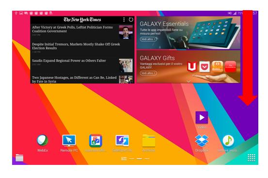 Trascinare schermo Galaxy Tab S