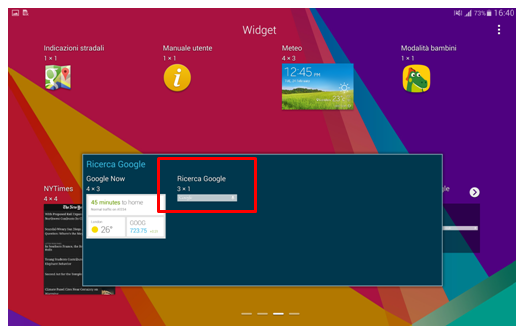 Widget Ricerca Google su Galaxy Tab