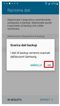 Scarica dati backup