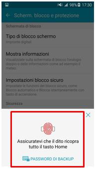 Dopo che premi su Impronte digitali devi inserire la tua impronta/password di backup  per poter procedere