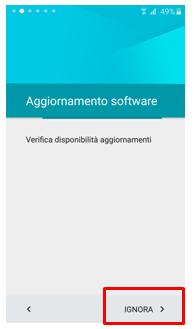 ignora aggiornamento software