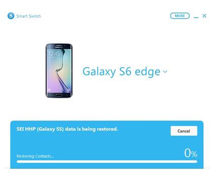 Una volta avviato il ripristino, Smart Switch importerà i dati del vecchio telefono2