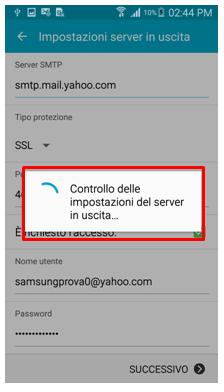 Controllo delle impostazioni del server in uscita