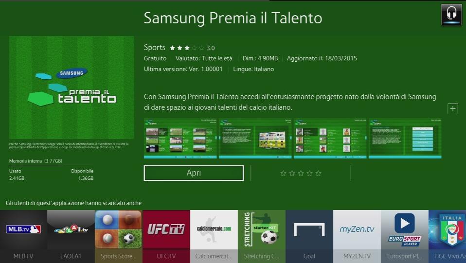 Download di applicazioni nella Smart TV
