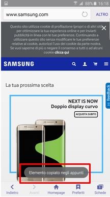 Il testo/la foto vengono salvate negli appunti della tastiera Samsung