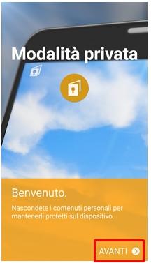 Schermata Modalità privata per attivarla