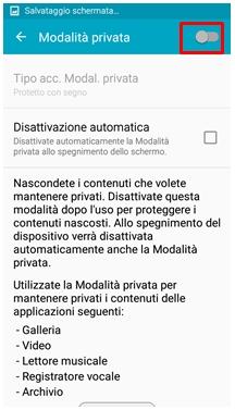 Modalità privata cursore di attivazione