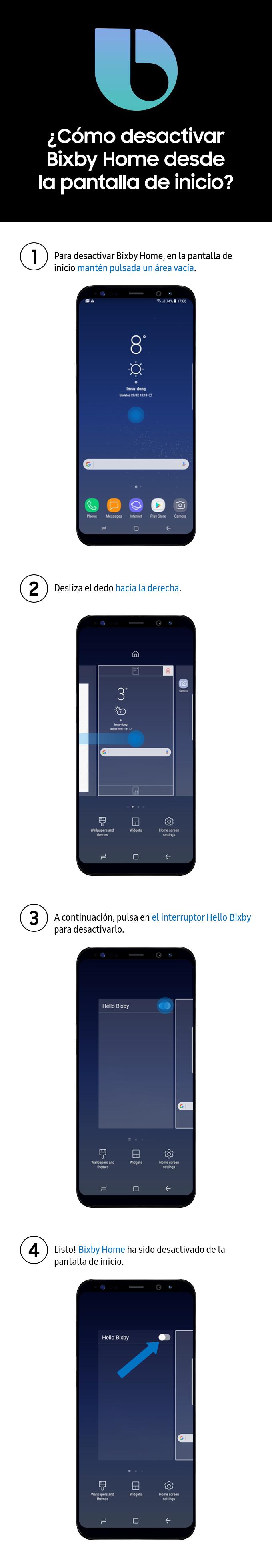 Como desactivar Bixby Home desde la pantalla de inicio