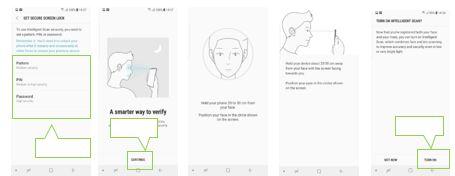 """Når en skjerm for opplåsing med intelligent skanning vises, trykker du på """"Slå på"""" for å bruke ansiktet og irisene til å låse opp skjermen"""