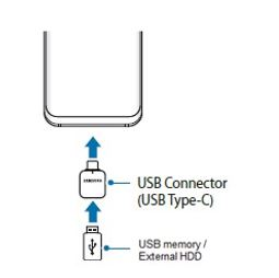 Plugg USB-kontakten (USB Type-C) i USB-strømadapteren og plugg USB-minnet/den eksterne harddisken i en stikkontakt