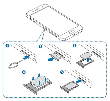 Galaxy J5/J7 2017: Basic operation > How to install the SIM