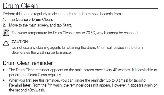 Recommended Regular Maintenance for WM model WW90H9600EW/SA