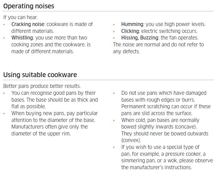 Cookware suitable for induction cooking, cooktop model NZ84J9770EK